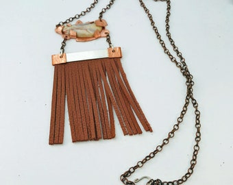 Handmade Necklace, Copper and Silver Fringe, Brecciated Agate, with Antique Copper Chain