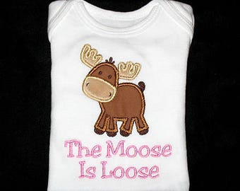 Custom Personalized Applique MOOSE and NAME or The Moose Is Loose Shirt or Bodysuit - Brown, Tan, and Blue