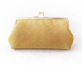 Shimmery Gold Clutch Purse for Bride, Bridesmaid, Mother of the Bride