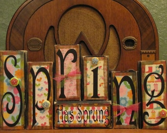 Spring Sign, Spring Decor, Easter Sign, Easter decor,  Spring Word Blocks, Spring Has Sprung, Easter Word Blocks
