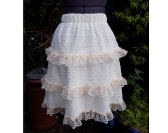 SALE Steampunk skirt Peaches and cream  Sweet lolita skirt  frilly lace skirt one of a kind