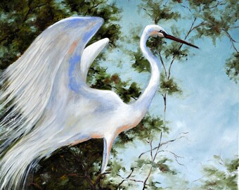 Print of Painting of an Egret in the Wetlands, Taking Flight