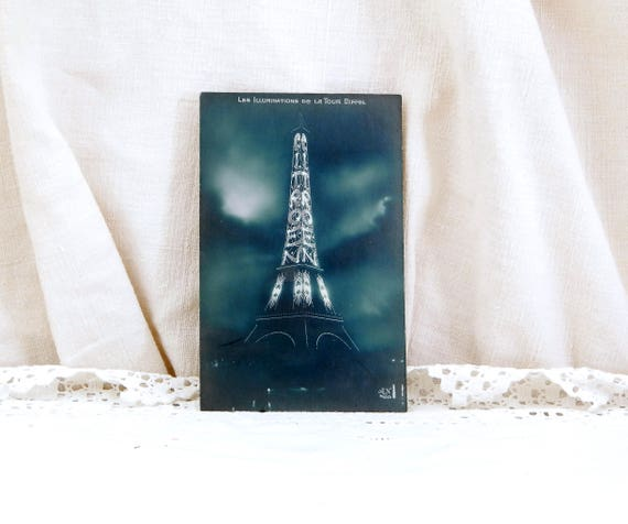 Unused Antique French Black and White Postcard, Eiffel Tower Illuminated by Car Company Citroen, Parisian Brocante Decor, Art Deco France