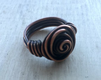 Copper Rose Ring, Patinaed Copper Rose Ring, Copper Ring, Oxidized Copper Ring, Rose Ring, Wire Wrapped Ring, Copper Jewelry, Unique Jewelry