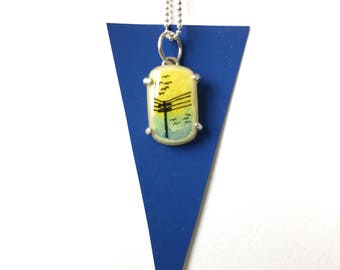 Necklace with Hand-Painted Pendant // Solid Sterling // Green, Blue & Yellow Sky // Pendant Charm Birds on Wires Silhouette