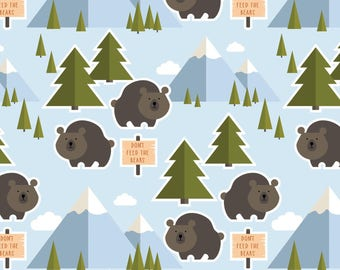 Bear Fabric, Let's Go Camping Fabric, Patrick Lose, Animals, Nature Fabric Trees, Don't Feed The Bears, 100% Quilting Cotton Fabric