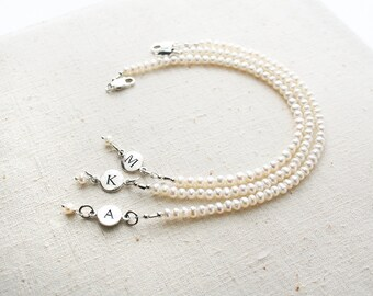 Bridesmaid Bracelet, Pearl Bracelet, Initial Bracelet, Personalized Jewelry, Bridesmaid Gift