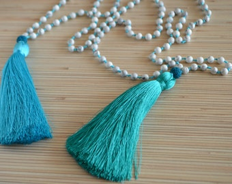 Long tassel necklace Beaded necklace with tassel Mala beads Hand knotted mala necklace White howlite necklace Bohemian jewelry Yoga necklace
