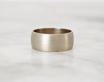 Matte Gold Band, Brushed Wedding Ring, Unique Gold Ring, 7 MM Extra Wide Cigar Band, 14k White Gold Wedding Band, Minimal Statement Size 5.5