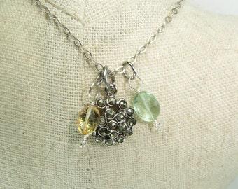 Citrine and Peridot Charm necklace, Gemstone charm cluster necklace, Antique silver charm necklace, Gunmetal crystal flower, Gemstone