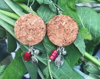 Champagne Cork Earrings with Silver and Red Dangle