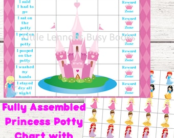 princess potty chart potty training chart reward chart personalized fully assembled star chart laminated stickers customized kids