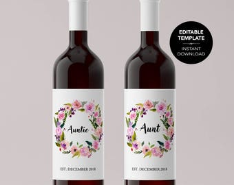 EDITABLE Pregnancy Announcement Wine Label TEMPLATE Edit Wine