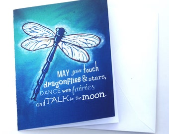 Blue Dragonfly Set of FOUR Blank Note Card with original art by Cortney Rector Designs