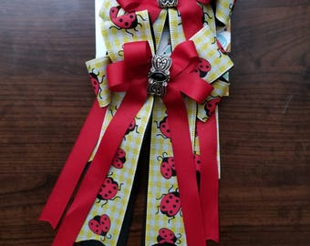 Red, Black, & Yellow Ladybug Equestrian Show Bows (Grand Champion Size)