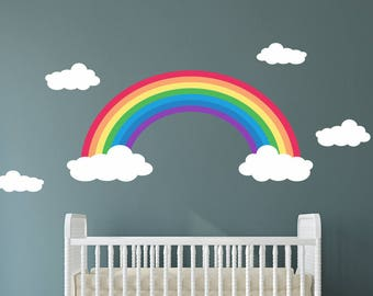 Rainbow Wall Decals - Rainbow and Clouds Decals - Kids Room Decal - Rainbow Reusable Wall Decal - Rainbow wall decal - Girls Wall Decals