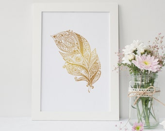 Feather Gold / Silver / Rose Foil Print / Home Decor / Print / Poster / Wall Art / Bedroom / Bathroom / Office / Kitchen