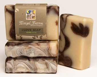Sweet Clove Soap Bar. Natural/ Handmade/ Artisan/ Cold Process. Generous 4.5 oz Vegan Bar. Made with Rainwater & Pure Essential Oils.
