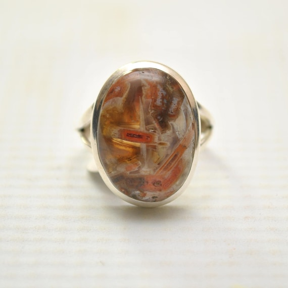Sterling Silver Tube Agate Ring Sz 8 #9252