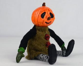 FREE SHIPPING ooak halloween art doll PETRONELA jack o lantern  artist doll cute handmade black collectible toy polymer posable doll