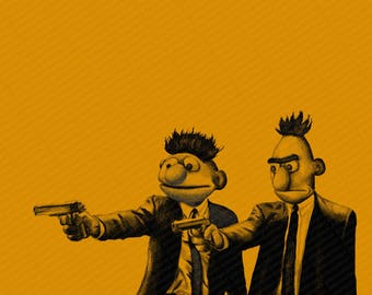 Pulp Fiction Parody and Bert and Ernie Parody Mashup - Digital Art - Print Poster Canvas -  Funny Pulp Fiction Movie Fan Gift Art Sesame St
