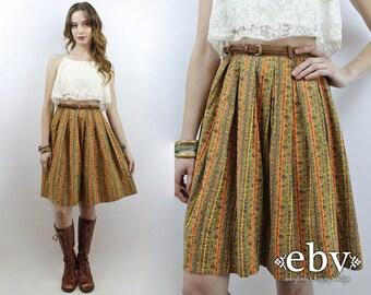 High Waisted Skirt 1970s Skirt 70s Skirt Hippie Skirt Floral Skirt Hippy Skirt Full Skirt Vintage 70s High Waisted Knee Length Skirt XS