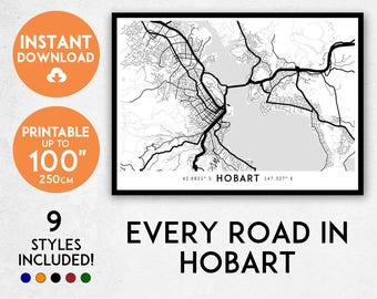 Hobart map print, Printable Hobart map art, Tasmania map print, Hobart print, Australia map, Hobart art, Hobart poster, Hobart wall art