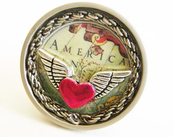 AMERICA Flying Heart Signature Drawer Pull or Knob