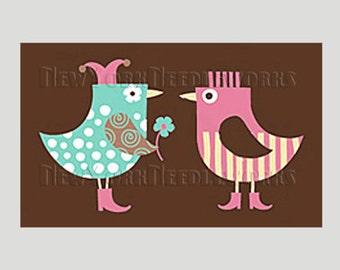 Birds Cross Stitch Pattern, Bird Cross Stitch, Birds Couple, Love Birds, Boy and Girl Birds, Needlepoint from NewYorkNeedleworks on Etsy