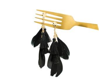 Black Feather Threaded Tassel Earrings, Boho Earrings, Bohemian Earrings, Multi Tassel Earrings, Feather Dangling, Statement Earrings,