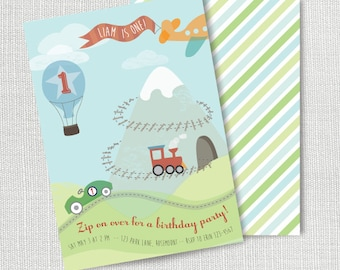 Transportation Birthday Party Invitation, Printable, Cars and Trucks Invite, Hot Air Balloon, Train, Plane, Boy, 1st, first, 2nd, 3rd