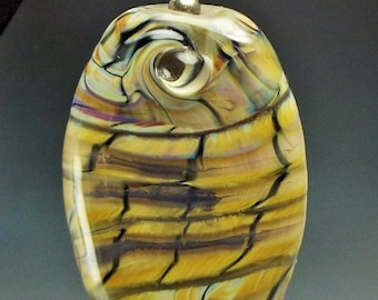 Lampwork Glass Pendant One of a Kind Handmade CRACKLES