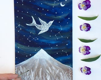 Original Painting // Starling and the Midnight Mountain // Elise Mahan Fine Art
