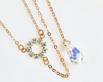 Rainbow crystal Y necklace - iridescent Y necklace - Swarovski crystal - crystal necklace - clear crystal necklace