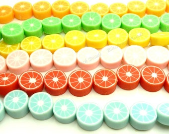 10mm Assorted Polymer Clay Fruit Beads - 10pcs - Flat Round Beads - BP3