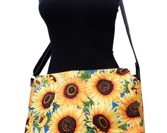 "US Handmade Laptop Case Shoulder Bag With ""SUNFLOWERS"" Pattern Messenger bag With Adjustable Handle Purse, Cotton, New"