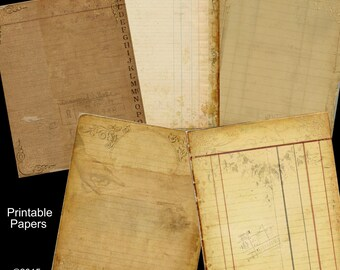 5 Sheet  Paper Pack  - Journaling Papers -  Printable Digital Collage Sheet - Digital Download Scrapbooking Kit