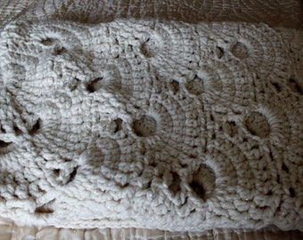 Chunky Hand Made Crochet Blanket Cream With a Slight Sparkle