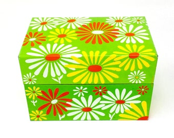 Vintage Bright Mod Floral Recipe Box and Index Cards - Syndicate Manufacturing Co - Retro Daisy Flower Power - Metal Storage Index Card File