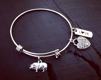 Pig Charm Bracelet   Pot Belly Pig Jewelry   Mini Pig   Pet Pig Lover Bangle Bracelet   Jewelry Gift For Pig Mom   Mini Pig   Micro Mini Pig