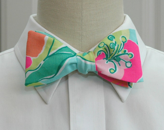 Men's Bow Tie, Island Cocktail turquoise/pink/multi Lilly bow tie, wedding bow tie, groom bow tie, tropical wedding bow tie, prom bow tie