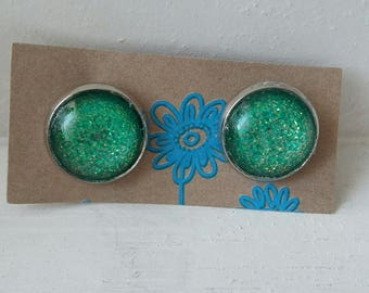 """Green Galaxy"" Silver earrings"