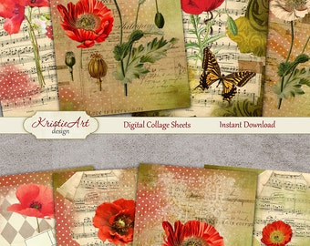 75% OFF SALE Summer Poppies - Digital Collage Sheet Digital Cards C127 Printable Download Image Digital Image Flowers Atc Cards Poppy ACEO