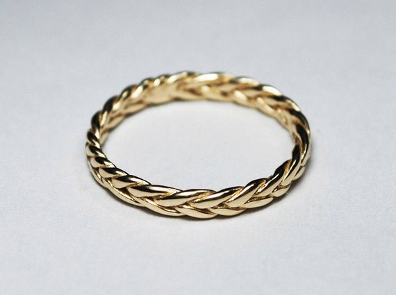 3mm width Larger Size Solid 10k Thin Braid Ring