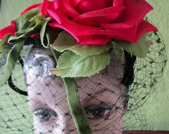 Fuschia Silk Roses Veil 1950s Spring Garden Wire Cage Hat Floral Green Velvet Church Derby