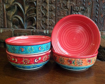 Set of 4 Hand Painted Fair Trade Dessert Bowls Red Floral Pattern 15cm