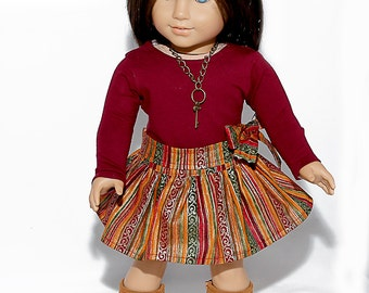 18 inch doll clothes made to fit like american girl doll clothes, burgundy top and coordinating circle skirt