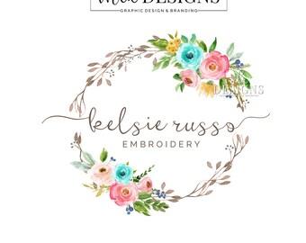 Wreath Logo, Wedding Logo, Round Logo, Floral Logo, Watercolor Logo, Business Logo, Premade Logo, Custom Logo Design, Round Logos