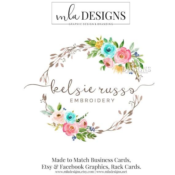 Wreath Logo Wedding Logo Round Logo Floral Logo Watercolor