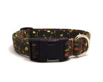 Green floral pet collar - Green dog collar - Floral adjustable collar - Green Flowerfield adjustable dog collar